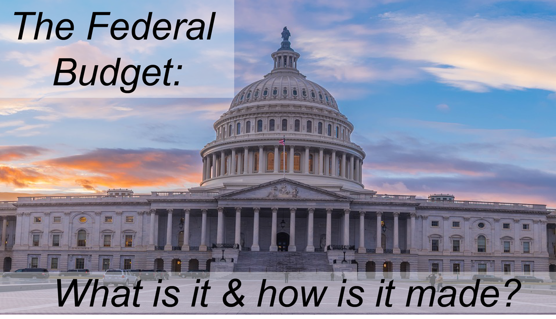 The Federal Budget Part 1: What is it & how is it made? Image shows the Capitol building with a sunset sky behind.